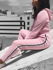 Active Hooded Design Contrast Color Tracksuit in Pink