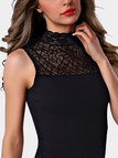 Black Velvet Lace Details Perkins Collar Sleeveless Vest