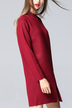 Burgundy High Neck Front Split Shift Sweater Dress