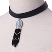 Tassel and Gemstone Pendant Choker Necklace