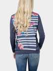 Navy Floral Print Round Neck Long Sleeves T-shirt