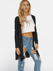 Black Slit Design Long Sleeves Cardigan