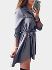 Dark Grey Basic Collar Lace-up Design Single Breasted Button Shirt Dress