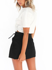 A-line Lace-Up Mini Skirts in Black