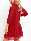 Red Cut Out Plain V-neck 3/4 Length Sleeves Dress