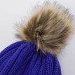 Blue Beanie Hat with Artificial Fur Pom