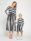 Causal Mom and Me Stripe Round Neck Long Sleeves Dress - Mom