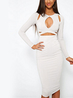 Cut Out Cross Front Midi Dress in White