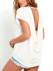 White Backless Design Crew Neck Short Sleeves T-shirts