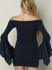 Navy Off Shoulder Bodycon Dress With Flared Sleeves