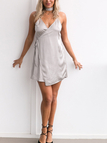 Gray Satin V-neck Sexy Dress With Cami Strap