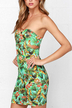 Floral Print Cut Out Tube Dress