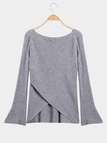 Grey Wrap Front Irregular Hem Long Sleeves Knitwear