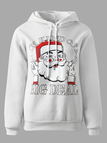 Active Round Neck Printed Design Christmas Sports Hoodies in White