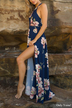 Navy Random Floral Print Slit Hem Dress