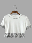 White Embroidery Short Sleeve Cropped T-shirt