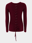 Burgundy Lace-up Design Plain Round Neck Long Sleeves Sweaters