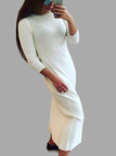 Casual Round Neck 1/2 Long Sleeves Maxi Dress in White