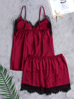 Burgundy Sexy V-neck Lace Details Padded Pajamas Set