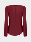 Burgundy Zipper Front Chiffon Blouse