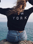 Fashion Letter Print at Back  Long Sleeves Sweatshirt