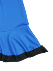 Royal Blue Round Neck Flounced Hem Mini Dress