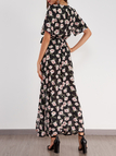 Self-tie Random Floral Print V-neck Splited Maxi Dress