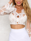 See-through Lace Details Long Sleeves Crop Top