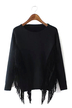 Suede Tassel Sweater in Black