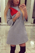 3/4 Length Sleeves Dress with Bowknot Embellished in Grey