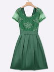 Green Lace Detail Tight Waist V-neck in Back Midi Dress