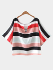 Multicolor Stripe Short Sleeve Loose T-shirt
