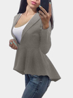 Grey Long Sleeves Ruffle Hem Jacket