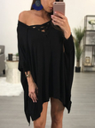 Black Oversize One Shoulder Lace-up Front Mini Dress