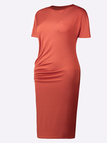 Casual Bodycon Midi Wrap Asymmetrical Dress in Rust