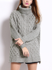 Grey Turtleneck Cable Jumper