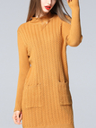 Longline Cable Knit High Neck Sweater Dress in Khaki