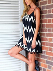 Contrast Wave Pattern Backless Cami Strap Mini Dress With Tassel Hem