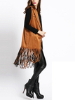 Brown High Lapel Collar Gilet with Tassel Hem