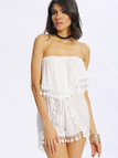 White Semi-sheer Off The Shoulder Lace Playsuit