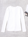 White Lace-up Design Plain Round Neck Long Sleeves Sweaters
