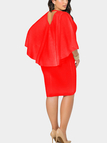 Plus Size Red Bat Sleeves Cape Dress