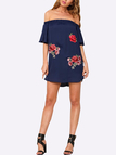 Navy Satin Elastic Off-the-shoulder Random Rose Embroidered floral Mini Dress
