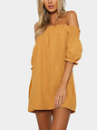 Off-The-Shoulder Mini Dress in Yellow