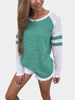Green Spell Color Round Neck Long Sleeves T-shirt