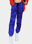Active Stitching Design Drawstring Waist Sports Pants in Blue