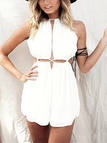 Plunge Lace-up Cut Out Halter Romper