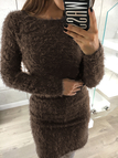 Coffee Dyed Artificial Fur Round Neck Long Sleeves Mini Dress