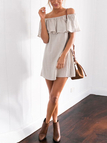 Grey Fashion Off The Shoulder Mini Dress