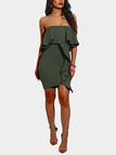 Bodycon Frills Design Strapless Mini Dress in Army Green
